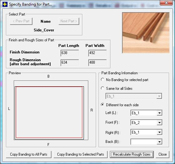 Dialog to select Banding materail and apply on different sides